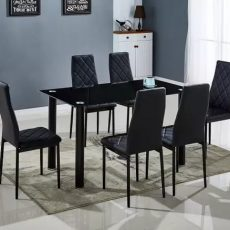 mesa + 6 sillas negra