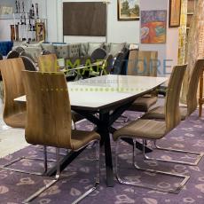 mesa moderna+ 6 sillas extensible